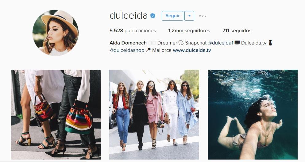 Imagen de Ia cuenta de Instagram de Dulceida, una se las más influyentes del país.
